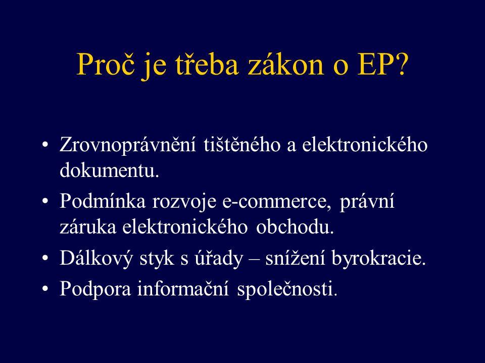 Proč je třeba zákon o EP? Zrovnoprávnění tištěného a elektronického dokumentu. Podmínka rozvoje e-commerce, právní záruka elektronického obchodu. Dálk