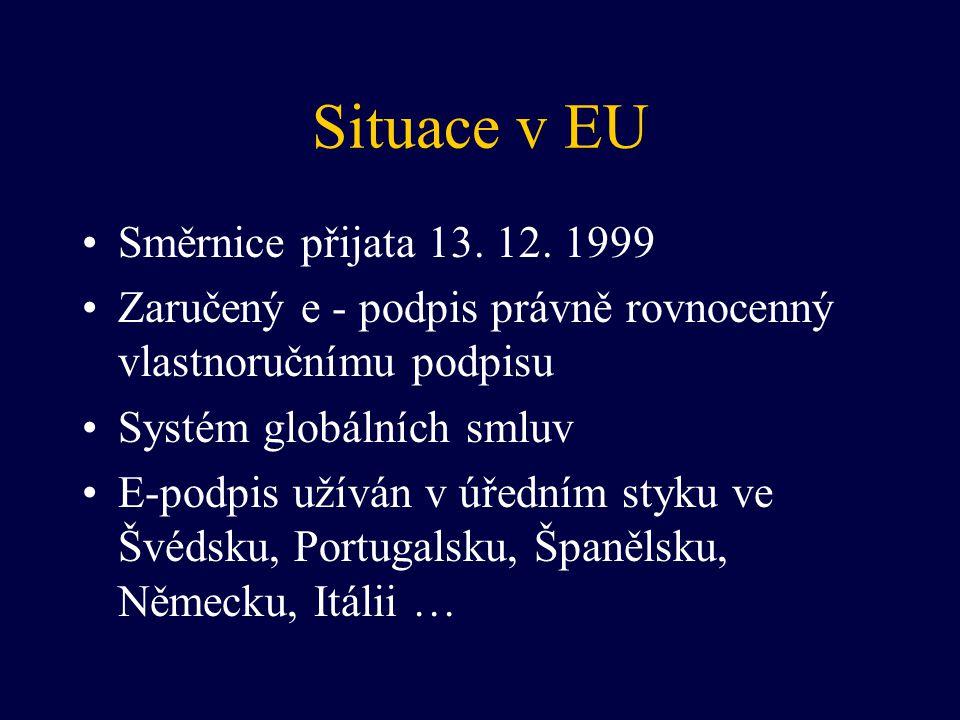 Situace v EU Směrnice přijata 13. 12. 1999 Zaručený e - podpis právně rovnocenný vlastnoručnímu podpisu Systém globálních smluv E-podpis užíván v úřed