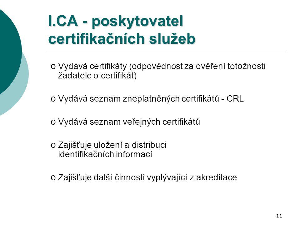 11 I.CA - poskytovatel certifikačních služeb o Vydává certifikáty (odpovědnost za ověření totožnosti žadatele o certifikát) o Vydává seznam zneplatněných certifikátů - CRL o Vydává seznam veřejných certifikátů o Zajišťuje uložení a distribuci identifikačních informací o Zajišťuje další činnosti vyplývající z akreditace