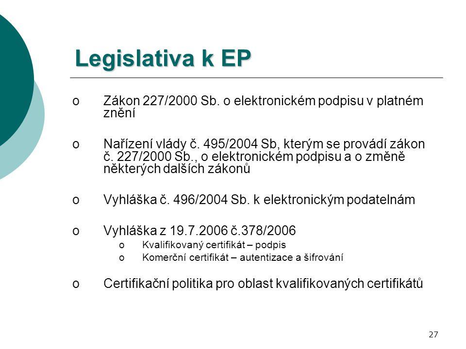 27 Legislativa k EP oZákon 227/2000 Sb. o elektronickém podpisu v platném znění oNařízení vlády č. 495/2004 Sb, kterým se provádí zákon č. 227/2000 Sb