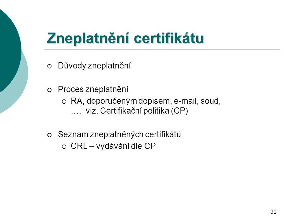 31 Zneplatnění certifikátu  Důvody zneplatnění  Proces zneplatnění  RA, doporučeným dopisem, e-mail, soud, …. viz. Certifikační politika (CP)  Sez