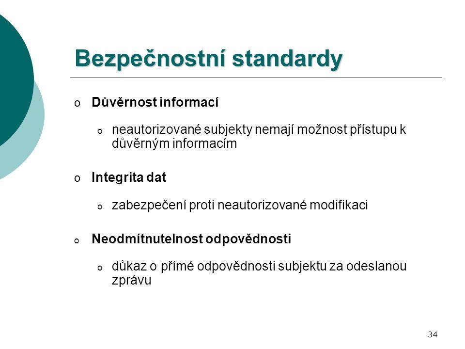 34 Bezpečnostní standardy o Důvěrnost informací o neautorizované subjekty nemají možnost přístupu k důvěrným informacím o Integrita dat o zabezpečení