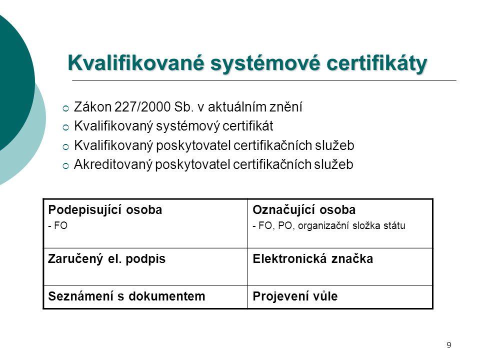 9 Kvalifikované systémové certifikáty  Zákon 227/2000 Sb. v aktuálním znění  Kvalifikovaný systémový certifikát  Kvalifikovaný poskytovatel certifi