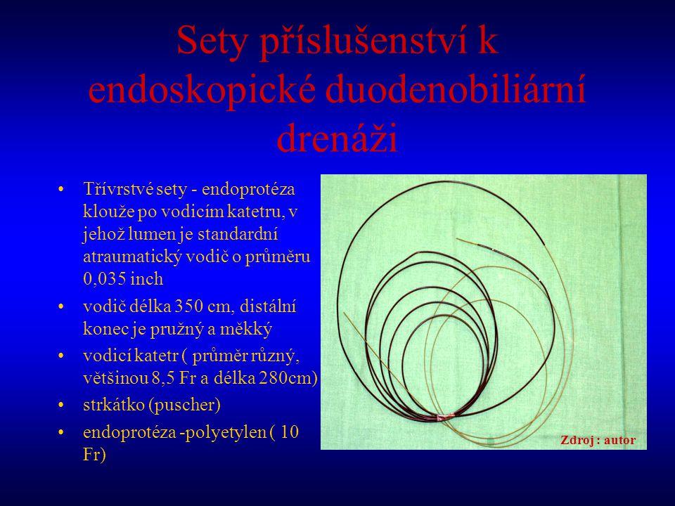 Sety příslušenství k endoskopické duodenobiliární drenáži Třívrstvé sety - endoprotéza klouže po vodicím katetru, v jehož lumen je standardní atraumat