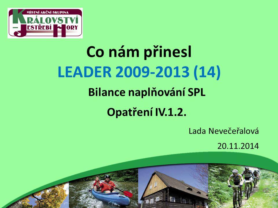 Co nám přinesl LEADER 2009-2013 (14) Bilance naplňování SPL Opatření IV.1.2.