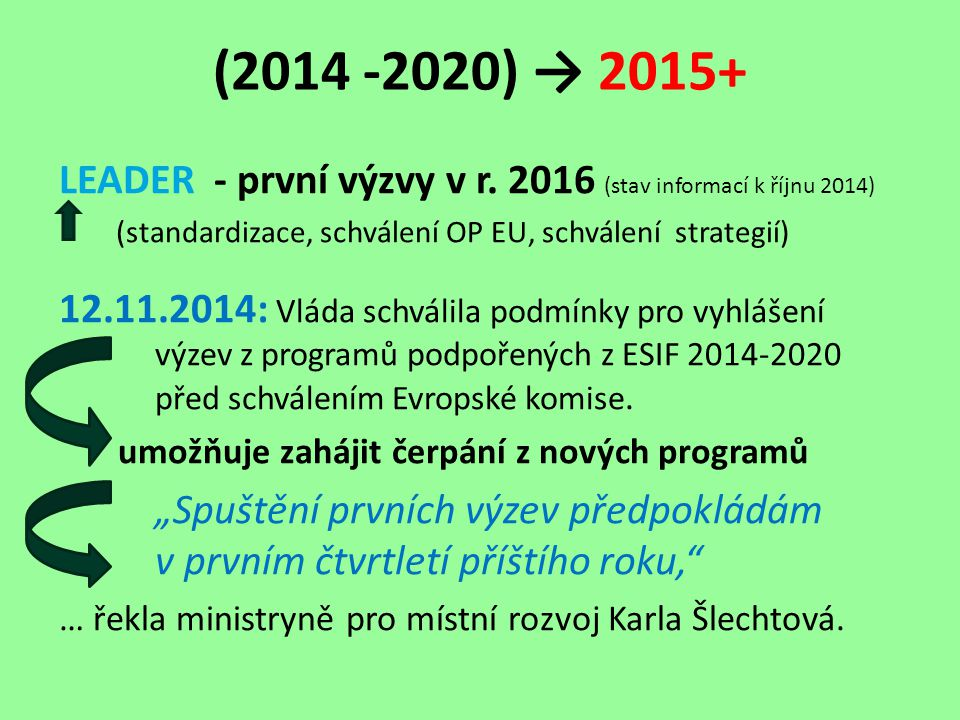 (2014 -2020) → 2015+ LEADER - první výzvy v r.
