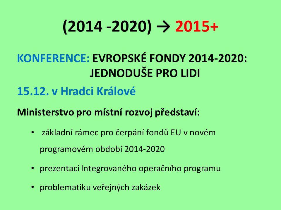 (2014 -2020) → 2015+ KONFERENCE: EVROPSKÉ FONDY 2014-2020: JEDNODUŠE PRO LIDI 15.12.
