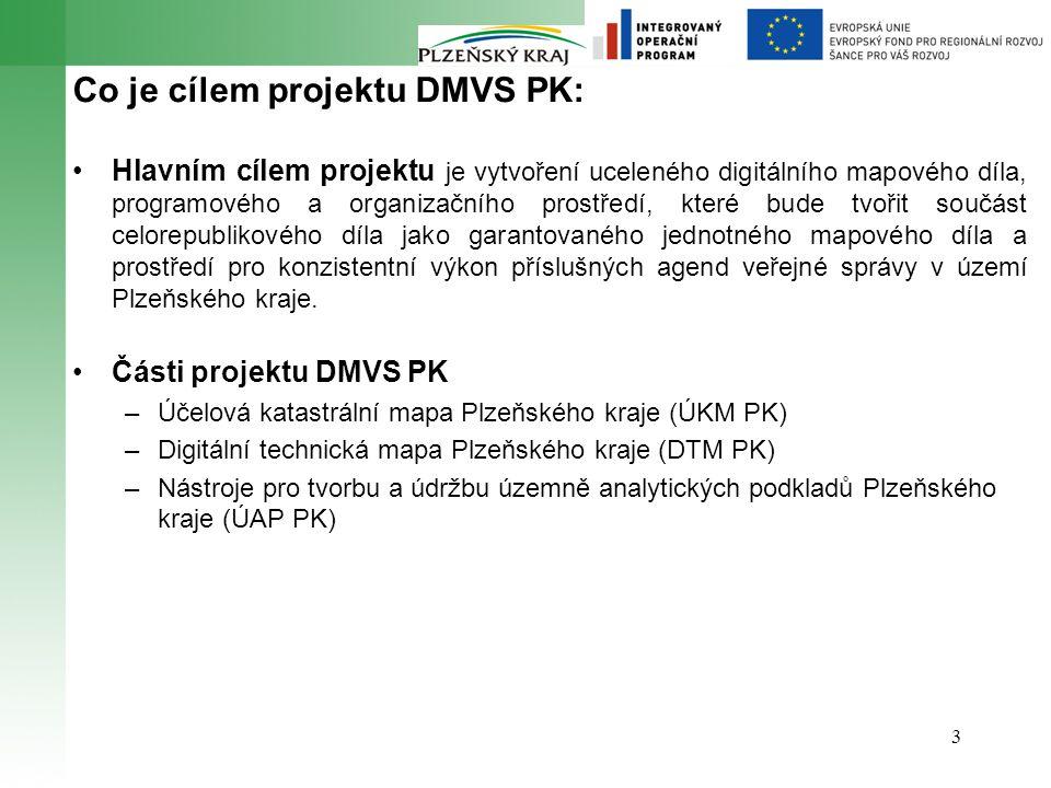 3 Co je cílem projektu DMVS PK: Hlavním cílem projektu je vytvoření uceleného digitálního mapového díla, programového a organizačního prostředí, které