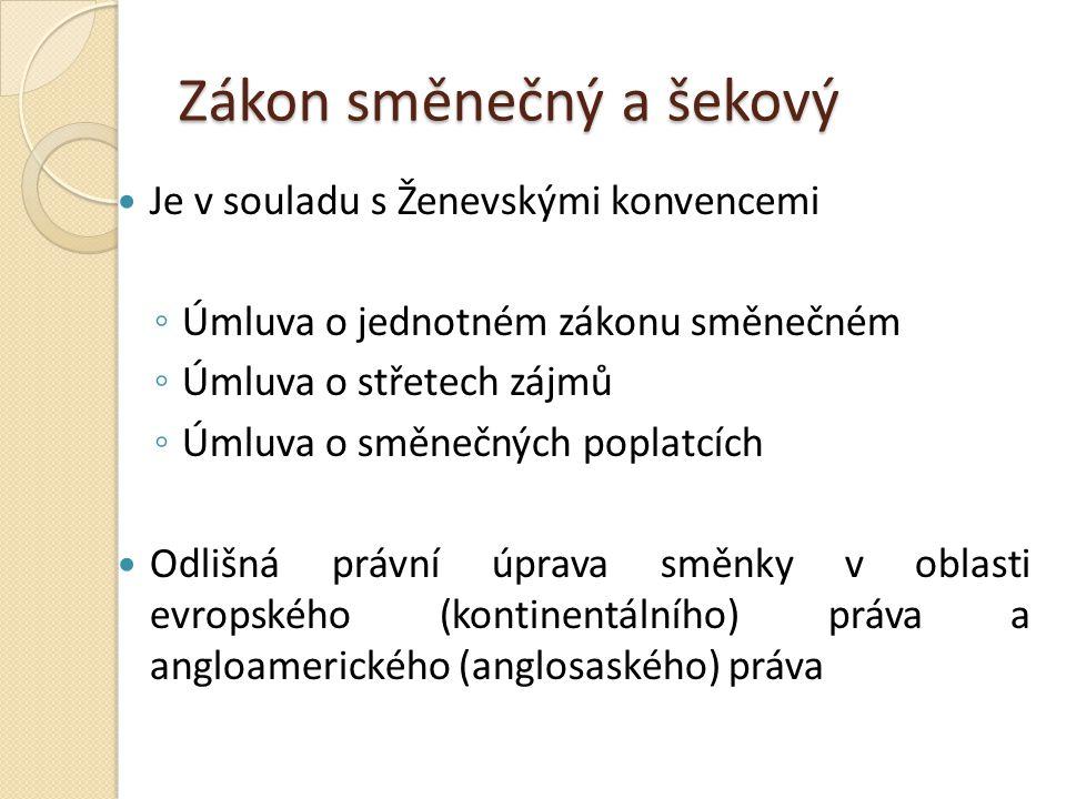 Převod směnky V ČR se směnka převádí indosamentem nebo cesí BEA a UCC připouštějí 3 způsob – převod směnky pouhou tradicí BEA (část II.