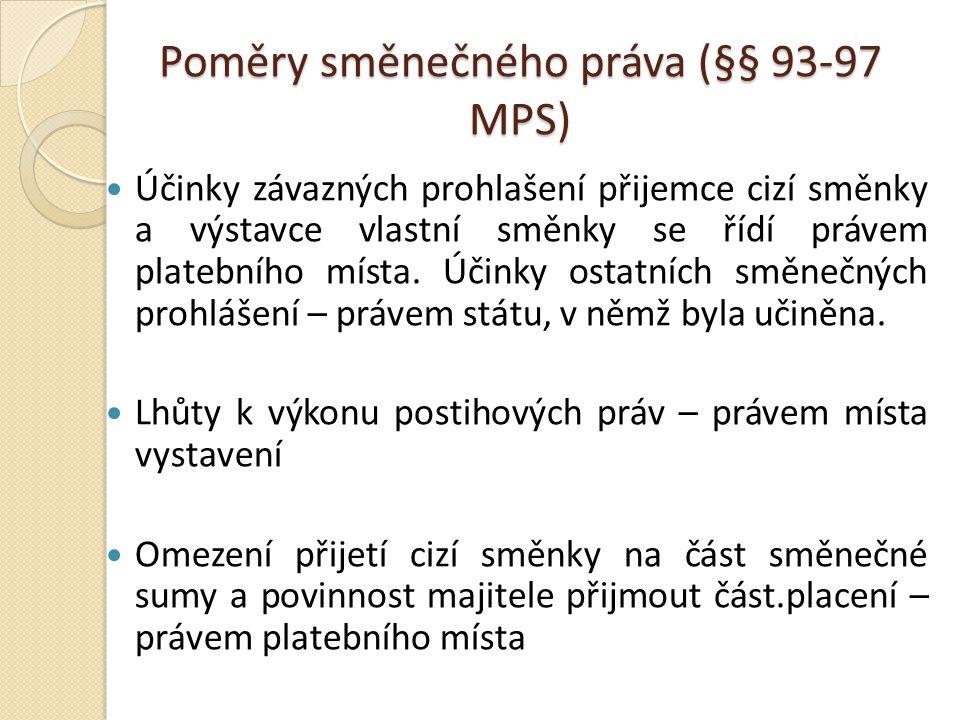 Poměry směnečného práva (§§ 93-97 MPS) Účinky závazných prohlašení přijemce cizí směnky a výstavce vlastní směnky se řídí právem platebního místa.