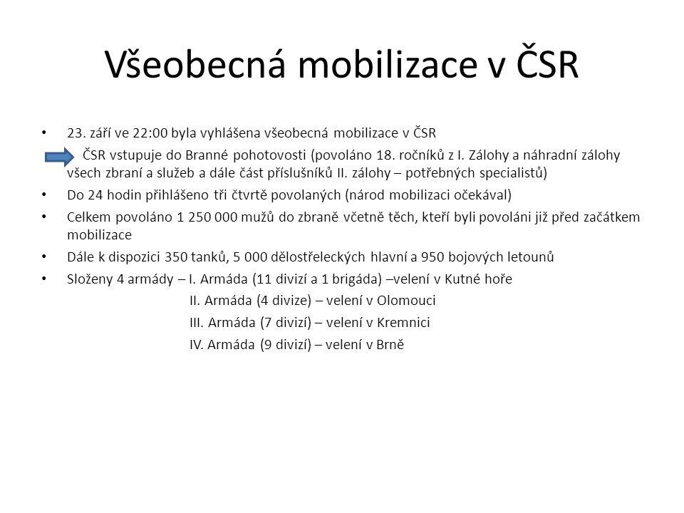 Všeobecná mobilizace v ČSR 23. září ve 22:00 byla vyhlášena všeobecná mobilizace v ČSR ČSR vstupuje do Branné pohotovosti (povoláno 18. ročníků z I. Z