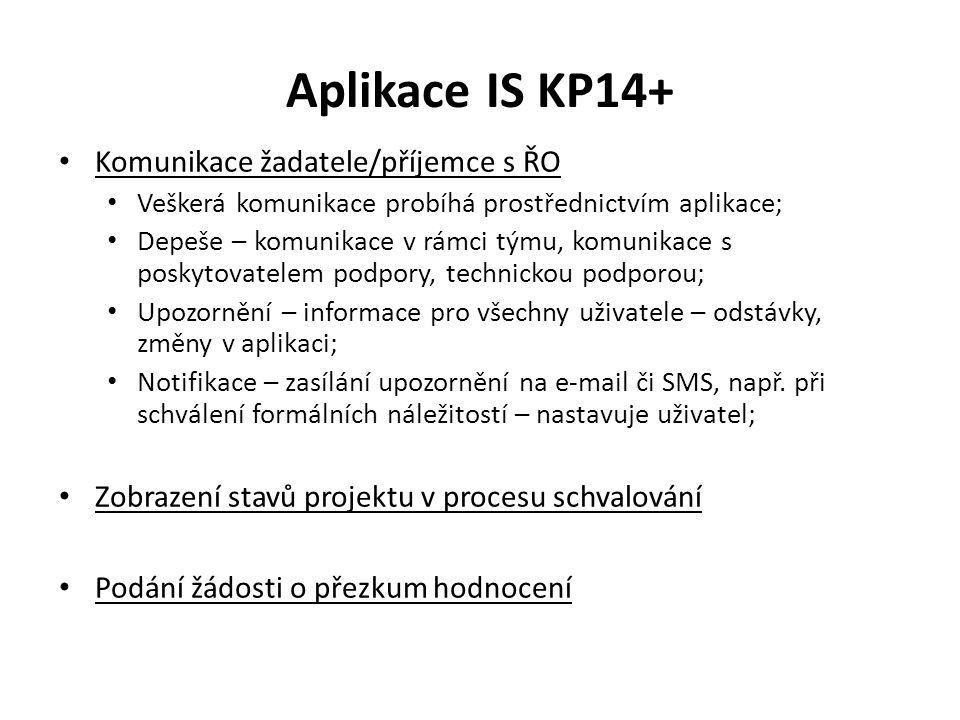 Aplikace IS KP14+ Komunikace žadatele/příjemce s ŘO Veškerá komunikace probíhá prostřednictvím aplikace; Depeše – komunikace v rámci týmu, komunikace