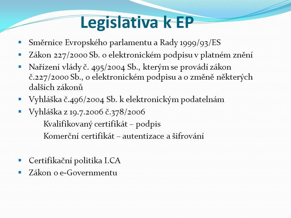 Legislativa k EP  Směrnice Evropského parlamentu a Rady 1999/93/ES  Zákon 227/2000 Sb. o elektronickém podpisu v platném znění  Nařízení vlády č. 4