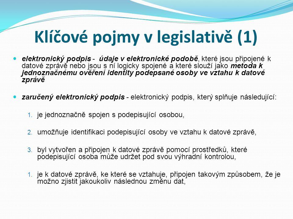 Klíčové pojmy v legislativě (1) elektronický podpis - údaje v elektronické podobě, které jsou připojené k datové zprávě nebo jsou s ní logicky spojené