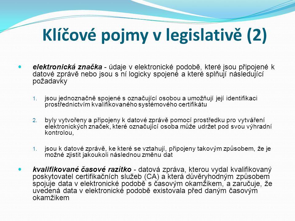 Klíčové pojmy v legislativě (2) elektronická značka - údaje v elektronické podobě, které jsou připojené k datové zprávě nebo jsou s ní logicky spojené