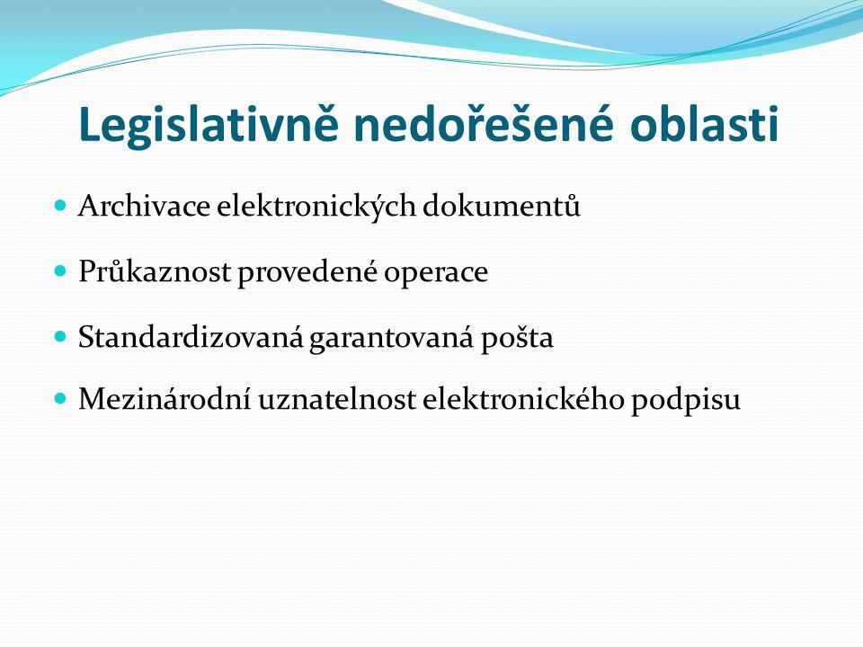 Legislativně nedořešené oblasti Archivace elektronických dokumentů Průkaznost provedené operace Standardizovaná garantovaná pošta Mezinárodní uznateln