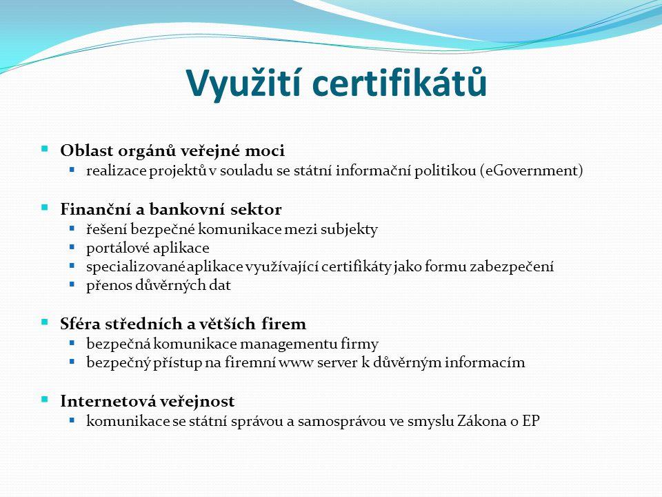 Využití certifikátů  Oblast orgánů veřejné moci  realizace projektů v souladu se státní informační politikou (eGovernment)  Finanční a bankovní sek