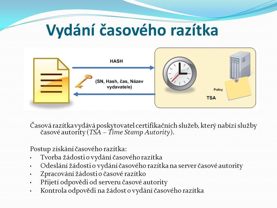 Časová razítka vydává poskytovatel certifikačních služeb, který nabízí služby časové autority (TSA – Time Stamp Autority). Postup získání časového raz