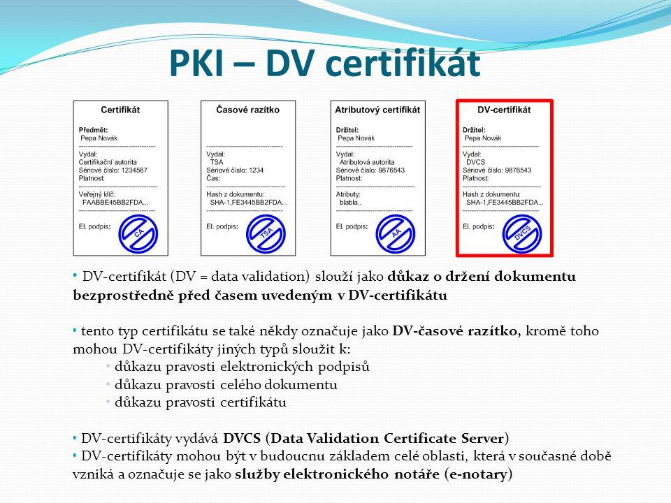 PKI – DV certifikát DV-certifikát (DV = data validation) slouží jako důkaz o držení dokumentu bezprostředně před časem uvedeným v DV-certifikátu tento