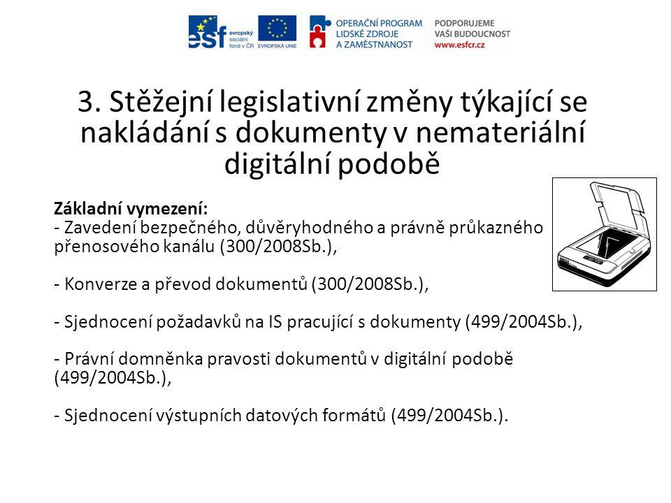 3. Stěžejní legislativní změny týkající se nakládání s dokumenty v nemateriální digitální podobě Základní vymezení: - Zavedení bezpečného, důvěryhodné