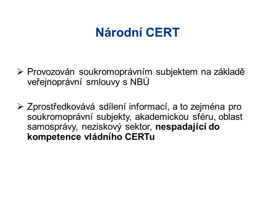 Národní CERT  Provozován soukromoprávním subjektem na základě veřejnoprávní smlouvy s NBÚ  Zprostředkovává sdílení informací, a to zejména pro soukr
