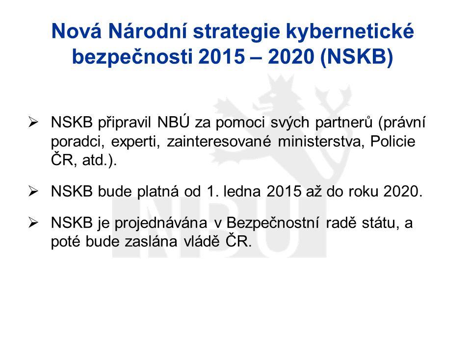 Nová Národní strategie kybernetické bezpečnosti 2015 – 2020 (NSKB)  NSKB připravil NBÚ za pomoci svých partnerů (právní poradci, experti, zainteresov