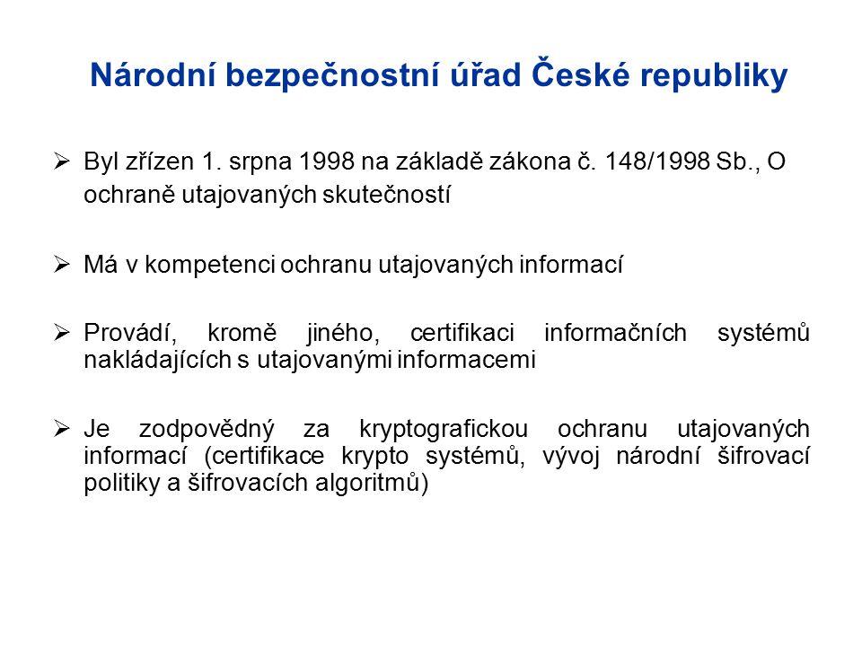 Byl zřízen 1. srpna 1998 na základě zákona č. 148/1998 Sb., O ochraně utajovaných skutečností  Má v kompetenci ochranu utajovaných informací  Prov