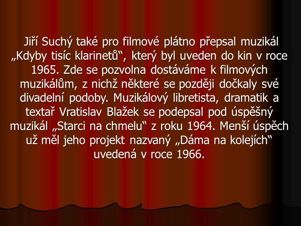 """Jiří Suchý také pro filmové plátno přepsal muzikál """"Kdyby tisíc klarinetů , který byl uveden do kin v roce 1965."""