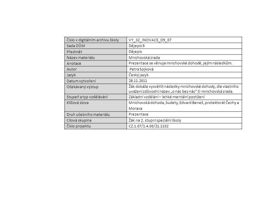 Číslo v digitálním archivu školyVY_32_INOVACE_D9_07 Sada DŮMDějepis 9 Předmět Dějepis Název materiáluMnichovská zrada Anotace Prezentace se věnuje mni