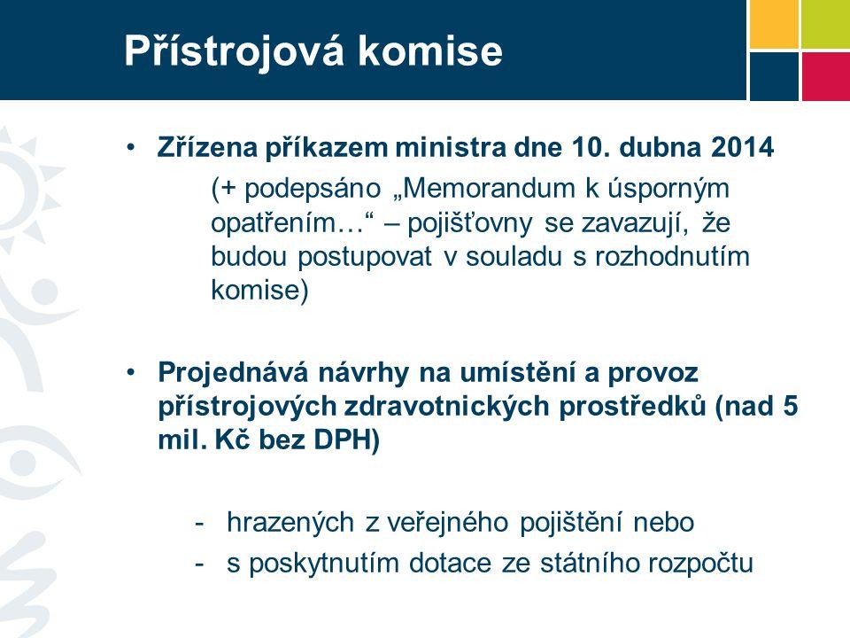 """Přístrojová komise Zřízena příkazem ministra dne 10. dubna 2014 (+ podepsáno """"Memorandum k úsporným opatřením…"""" – pojišťovny se zavazují, že budou pos"""