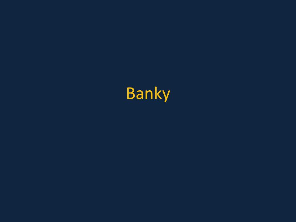 Banka Instituce poskytující finanční služby Finance půjčuje – úvěry, kontokorenty, leasingy, hypotéky, … Finance shromažďuje – termínované vklady, spořící účty Zisk banky tvoří rozdíl úroků mezi vklady a úvěry, poplatky klientů, ….
