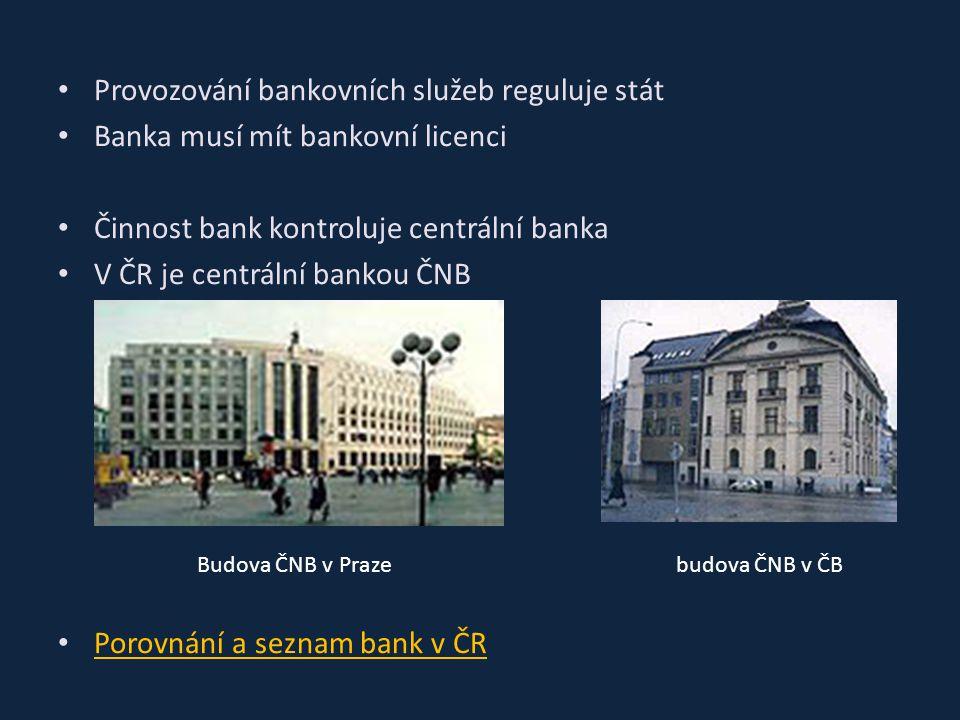 Provozování bankovních služeb reguluje stát Banka musí mít bankovní licenci Činnost bank kontroluje centrální banka V ČR je centrální bankou ČNB Porov