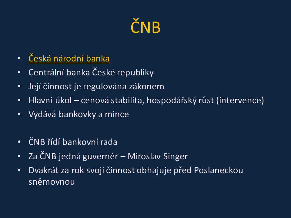 ČNB Česká národní banka Centrální banka České republiky Její činnost je regulována zákonem Hlavní úkol – cenová stabilita, hospodářský růst (intervenc