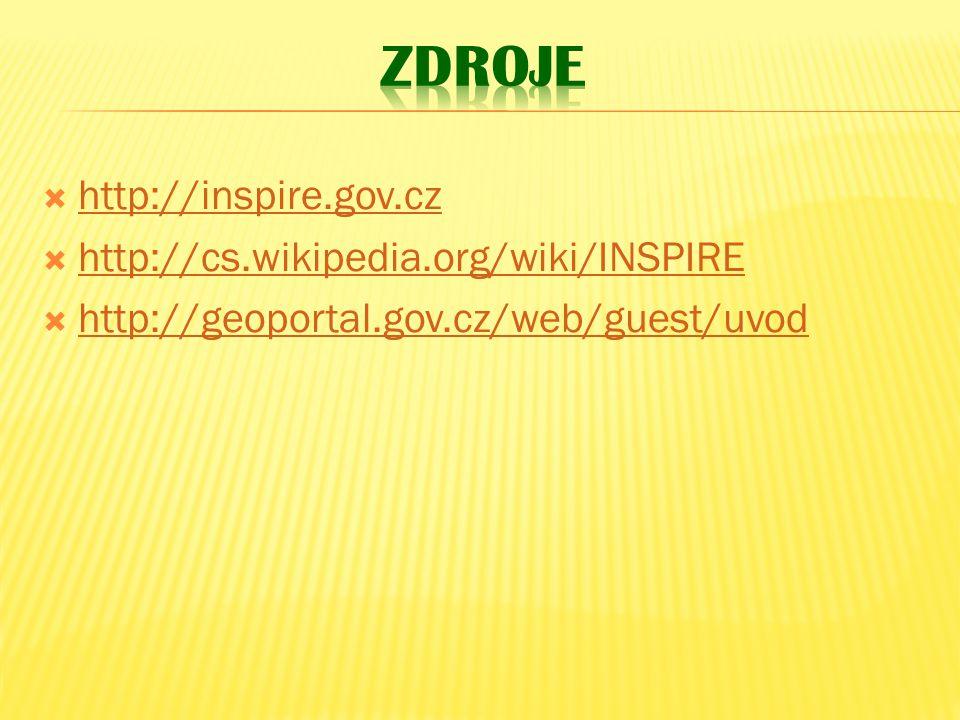  http://inspire.gov.cz http://inspire.gov.cz  http://cs.wikipedia.org/wiki/INSPIRE http://cs.wikipedia.org/wiki/INSPIRE  http://geoportal.gov.cz/web/guest/uvod http://geoportal.gov.cz/web/guest/uvod