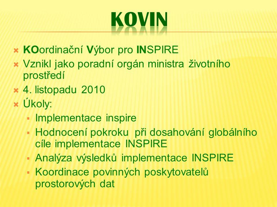  KOordinační Výbor pro INSPIRE  Vznikl jako poradní orgán ministra životního prostředí  4. listopadu 2010  Úkoly:  Implementace inspire  Hodnoce