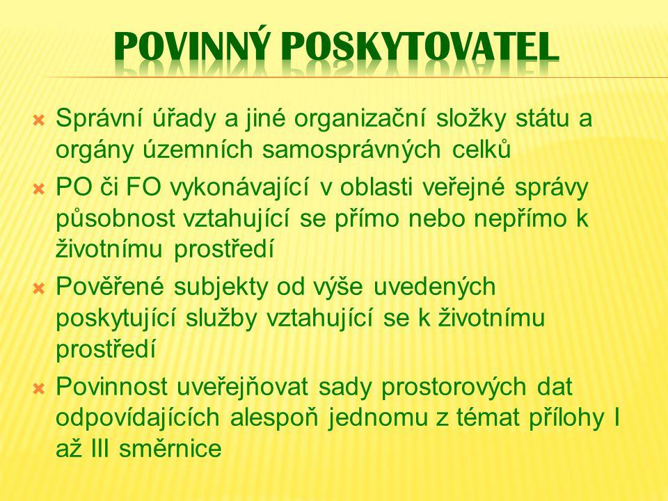  Správní úřady a jiné organizační složky státu a orgány územních samosprávných celků  PO či FO vykonávající v oblasti veřejné správy působnost vztah