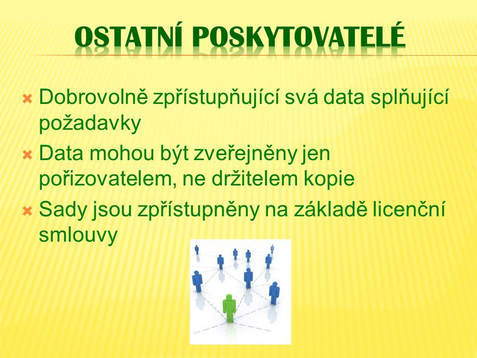 Dobrovolně zpřístupňující svá data splňující požadavky  Data mohou být zveřejněny jen pořizovatelem, ne držitelem kopie  Sady jsou zpřístupněny na základě licenční smlouvy