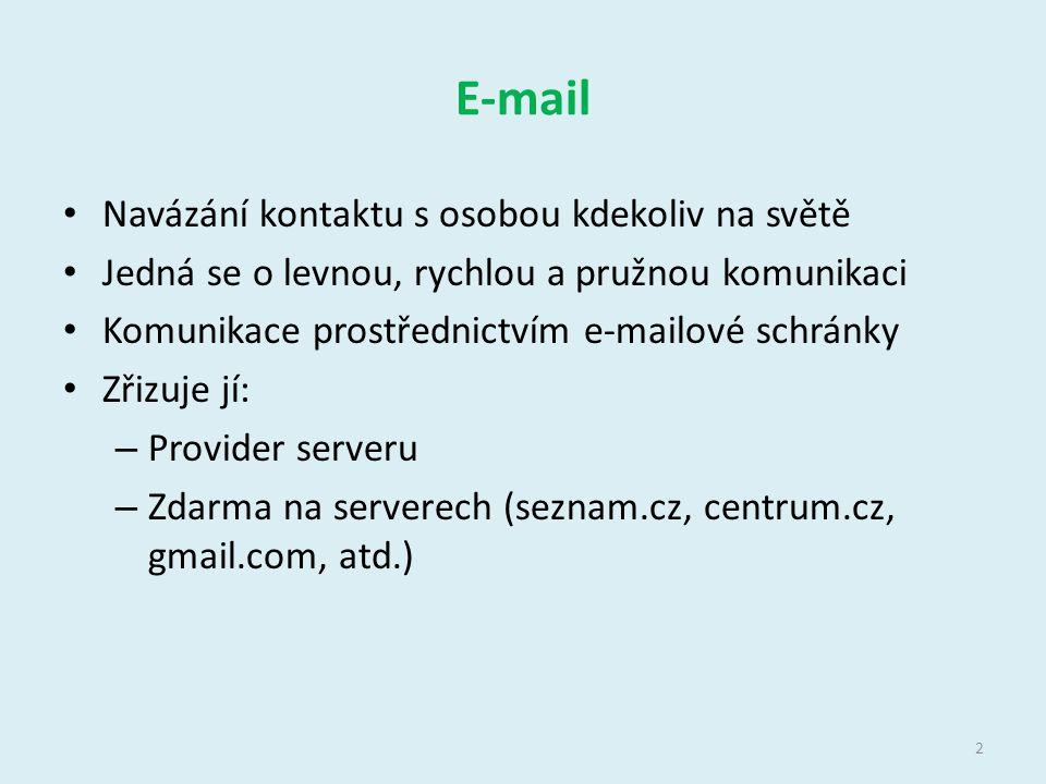 E-mail Navázání kontaktu s osobou kdekoliv na světě Jedná se o levnou, rychlou a pružnou komunikaci Komunikace prostřednictvím e-mailové schránky Zřiz