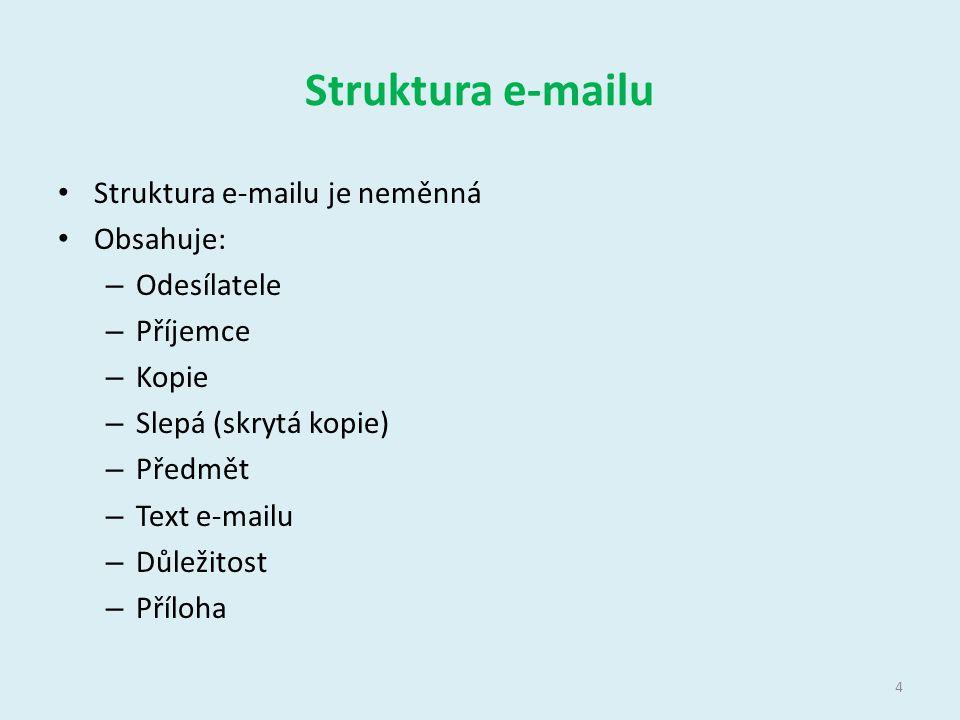 Struktura e-mailu Struktura e-mailu je neměnná Obsahuje: – Odesílatele – Příjemce – Kopie – Slepá (skrytá kopie) – Předmět – Text e-mailu – Důležitost