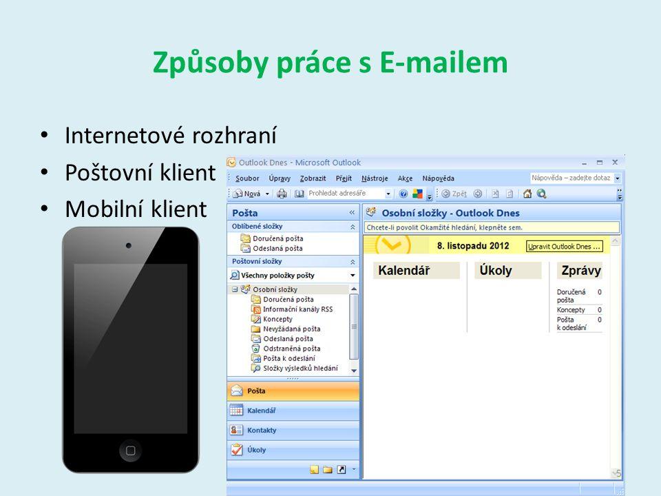 Outlook 2007 Umožňuje odesílat, přijímat a uspořádat poštu v lokání síti nebo v internetu Umožňuje spravovat – Poštu – Kalendář – Adresy – Psát poznámky atd.