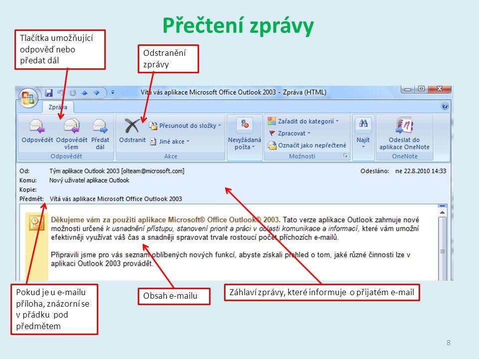 Přečtení zprávy Tlačítka umožňující odpověď nebo předat dál Odstranění zprávy Záhlaví zprávy, které informuje o přijatém e-mail Obsah e-mailu Pokud je