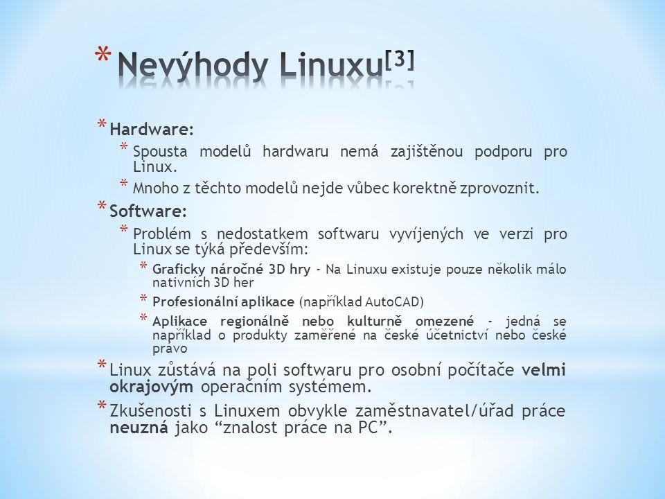 * Hardware: * Spousta modelů hardwaru nemá zajištěnou podporu pro Linux.