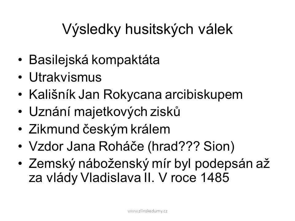 Výsledky husitských válek Basilejská kompaktáta Utrakvismus Kališník Jan Rokycana arcibiskupem Uznání majetkových zisků Zikmund českým králem Vzdor Ja