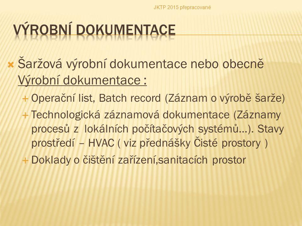  Šaržová výrobní dokumentace nebo obecně Výrobní dokumentace :  Operační list, Batch record (Záznam o výrobě šarže)  Technologická záznamová dokume