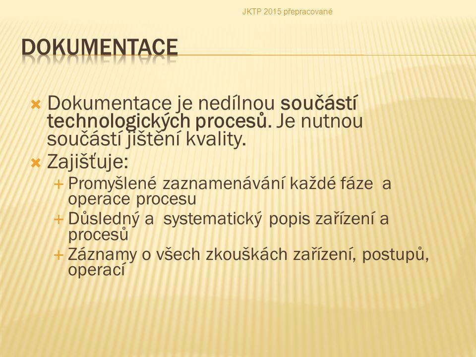  Dokumentace je nedílnou součástí technologických procesů. Je nutnou součástí jištění kvality.  Zajišťuje:  Promyšlené zaznamenávání každé fáze a o