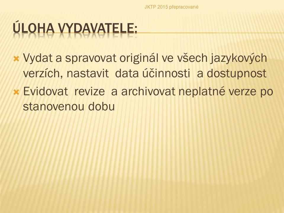  Vydat a spravovat originál ve všech jazykových verzích, nastavit data účinnosti a dostupnost  Evidovat revize a archivovat neplatné verze po stanov