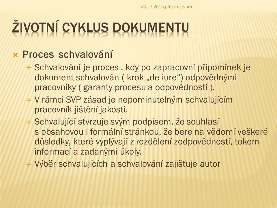 """ Proces schvalování  Schvalování je proces, kdy po zapracovní připomínek je dokument schvalován ( krok """"de iure"""") odpovědnými pracovníky ( garanty p"""