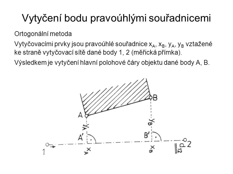Vytyčení bodu pravoúhlými souřadnicemi Ortogonální metoda Vytyčovacími prvky jsou pravoúhlé souřadnice x A, x B, y A, y B vztažené ke straně vytyčovac