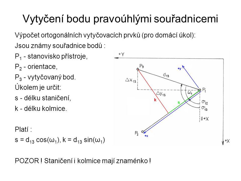 Vytyčení bodu pravoúhlými souřadnicemi Výpočet ortogonálních vytyčovacích prvků (pro domácí úkol): Jsou známy souřadnice bodů : P 1 - stanovisko příst
