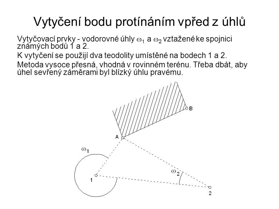 Vytyčení bodu protínáním vpřed z úhlů Vytyčovací prvky - vodorovné úhly  1 a  2 vztažené ke spojnici známých bodů 1 a 2. K vytyčení se použijí dva t
